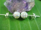 925 sterling silver AB colour Austrian Crystal round ball studs earrings 6mm