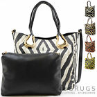 Ladies / Womens Large Zebra Print Shoulder Bag with Removable Crossbody Bag
