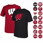 """WISCONSIN BADGERS ADIDAS GRAPHIC """"GO-TO"""" T-SHIRT COLLECTION BY ADIDAS MEN'S"""