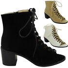 NEW WOMENS LADIES OPENTOE CUBAN HEEL CUTOUT LACE UP HIGH ANKLE BOOTS SHOES SIZE