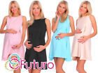 Ladies Maternity Cocktail Mini Shift Dress Sleeveless Crew Neck Sizes 8-18 FA427