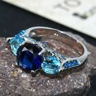 Blue Sapphire and Aquamarine Sterling Silver statement Ring