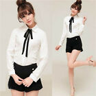 FD2234 Womens Bowknot Baby Collar Long Sleeve OL Chiffon Button Shirt Top Blouse