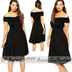 Plus Sz Pleated Off Shoulder Skater Sexy Slim Office Formal Party Evening Dress