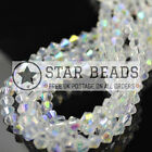 80 FACETED BICONE CRYSTAL GLASS BEADS CLEAR AB 4MM/ 5MM/ 6MM