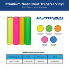 """Cad-Cut Vinyl Heat Transfer Material for Apparel 20"""" x 2 yards  Neon Colors Only"""