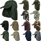 Ear Flap Neck Cover Sun Hat Baseball Camo Military Cap Fishing Hunting Hiking