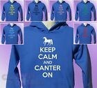 Royal Blue Hoodie KEEP CALM and CANTER ON Horse Riding mens womens Ride hoody