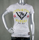 AFFLICTION women's T-shirt MOTORS EVENT  burnout White Crystals baby tee