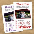 1-100 Personalised Wedding Thank You Cards With Envelopes & Your Photo (T10L)