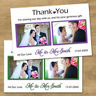 1-100 Personalised Wedding Thank You Cards With 2 Photos 8 Colour Options (T7L)