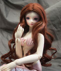 Doll Wig Center Part Long Curly Chestnut Brown BJD Ball Jointed Size 6-7 8-9