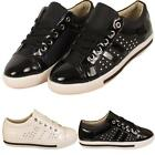 New Ladies Womens Girls Diamante Lace Up Studded Casual Fashion Trainers Shoes