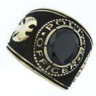 Jet Black Stone Police Officer Gold EP Plated Mens Ring