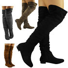 NEW WOMENS LADIES THIGH HIGH OVER THE KNEE BOOTS SLOUCH LONG LOW HEEL SHOES SIZE