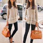 Women\'s Knitted Sweater Long Sleeve Pullover Loose Knitwear Jumper Tops S/M/L/XL