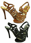 Michael Kors Womens Arianna Black Or Brown Ankle Strap Studded Platform Heels