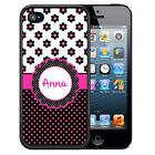 PERSONALIZED RUBBER CASE FOR iPHONE 5 5S 5C SE 6 6S PLUS POLKA DOTS FLOWERS PINK