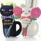 Cute Illustrated Standing Decorative CAT & FLOWER HAPPY BIRTHDAY Blank CARD