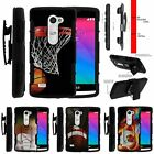 For LG Power | Destiny | Risio Rugged Holster Clip Stand Case Basketball Swish