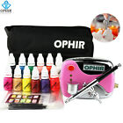 OPHIR 0.3mm Nail Art Airbrush Set w/ 12 Color Inks 20 Nail Stencils & Bag & Tool