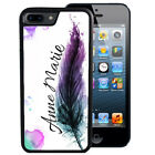 PERSONALIZED RUBBER CASE FOR iPHONE 5S 5C SE 6 6S 7 PLUS FEATHER WATERCOLOR TEAL