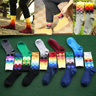1 Pair Men Fashion Cotton British style Plaid Gradient Color Socks