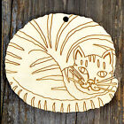 10x Wooden Cat Curled Up Tabby Craft Shapes 3mm Plywood Pet Animal Domestic