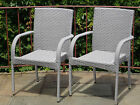 Set of 2 Patio Resin Outdoor Wicker Dining Arm Chairs