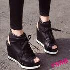 Casual Lady Heel Wedge Platform Hollow Out Open Toe Sandal Lace Up Sneaker Shoes