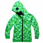 Boys Youth Fashion Hoodie Zip-Up Coat Sweater Jacket Cosplay Minecraft Creeper