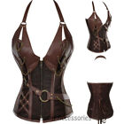 CC79 Steampunk Boned Halter Corset Brown PU Leather Gothic Halloween Costume Top