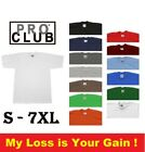 PRO CLUB PROCLUB MENS HEAVY WEIGHT SHORT SLEEVE T SHIRT WHITE BLACK BROWN NAVY
