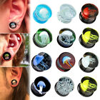 1 Pair Glass Saddle Double Flared Jellyfish Flesh Tunnels Ear Plugs Piercing