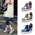 Womens Wedge High Heels Platform Pumps Lace Up Shoes fashion Sneakers Shiny New