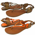 Coach Womens Coco Orange Natural Thong Buckle Ankle Strap Flats Sandals Shoes