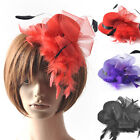 lady fascinator feather hair accessory mini top hat bridal wedding proms derby
