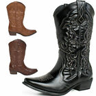 2nd Version Womens Block Heels Pointy Toe Cowboy Western Mid-Calf Boots Shoes