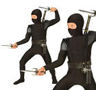 Childrens Black Ninja Fancy Dress Costume Samurai Outfit Kids Childs 3-10 Yrs