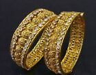 Indian Ethnic 2PC Gold Plated Kada Jewelry Bangles Diamond Bracelets Set