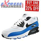 Nike Air Max 90 Essential Mens Premium Trainers White Black Photo Blue New 2016