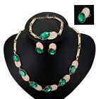 Elegant Women Wedding Jewelry Sets Emerald Crystal Oval Design Necklace Bracelet