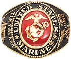 Gold Plated Deluxe 18k US Marines Engraved Ring With Crystal Stone