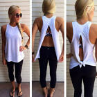 Womens Summer Sexy Sleeveless Blouse Casual Cotton Vest Cami Tank Tops T-Shirt