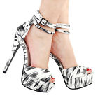 Black White D'Orsay 2 Ankle Straps Platform Stiletto Sandals Size 4/5/6/7/8/9/10