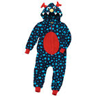 Boys Supersoft Fleece Hooded Novelty Character Monster Onesie Blue Red 2-12 yrs