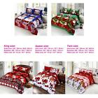 4x Cotton 3D Merry Christmas Bedding Set Duvet Quilt Bed Sheet Pillowcasese W3L1
