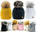 Kyпить Women Ladies Winter Beanie Hat Warm Knitted With Small Crystals Large Pom Pom UK на еВаy.соm