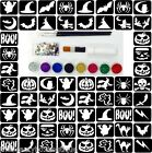 Glitter Tattoo Kit 30 - Halloween Theme 66 Stencils 8 Glitter Glue Brushes Gems