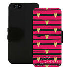 PERSONALIZED WALLET CASE FOR iPHONE 5 5S SE 6 6S 7 PLUS PINK BLACK GOLD HEARTS